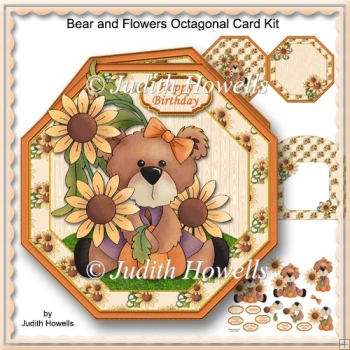 Bear And Flowers Octagonal Card Kit