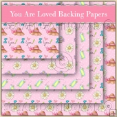 5 Pink You Are Loved Backing Papers Download (C133)