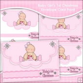 Baby Girl's 1st Christmas Envelope Card Front