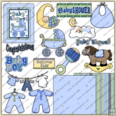 Baby Shower Boys ClipArt Graphic Collection