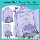 Hydrangea Tag & Backing Paper Mauve