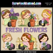 Sitting Sophie Fresh Flowers ClipArt Collection