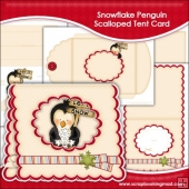 Snowflake Penguin Scalloped Tent Card
