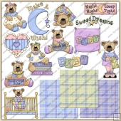 Teddy Thyme Beddy Bye ClipArt Graphic Collection
