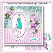Fashionable Lady With Roses Large Card Front