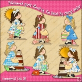 Patchwork Girls Stroll On The Beach ClipArt Graphic Collection