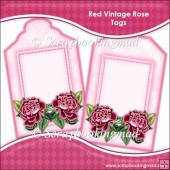 Red Vintage Rose Tags