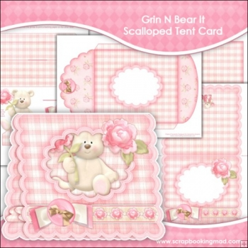 Grin N Bear It Scalloped Tent Card