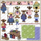 Spring Time Bears ClipArt Graphic Collection