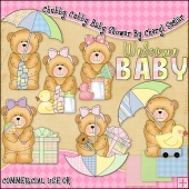 Chubby Cubby Baby Shower ClipArt Graphic Collection