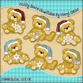 Cuddly Bears Snowflakes ClipArt Graphic Collection