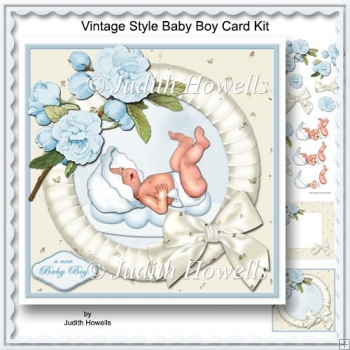 Vintage Style Baby Boy Card Kit