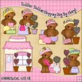 Toddler Teddies Shopping Day ClipArt Graphic Collection