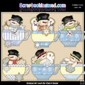 Snowman Teacups ClipArt Collection