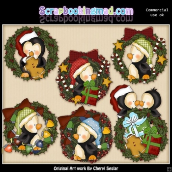 Penguin Wreaths ClipArt Collection