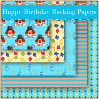 5 Blue Happy Birthday Clown Backing Papers Download (C214)