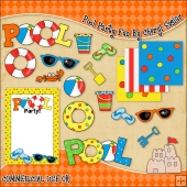 Pool Party Fun ClipArt Graphic Collection