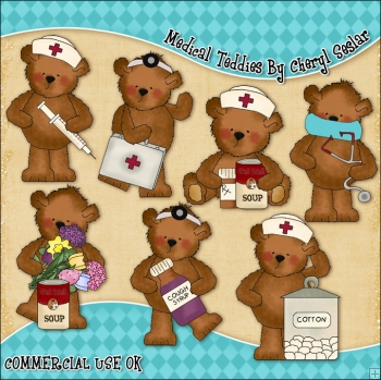 Medical Teddies ClipArt Graphic Collection
