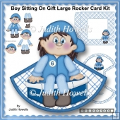 Boy Sitting On Gift Large Rocker Card Kit