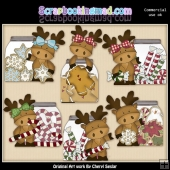 Moose Christmas Jars ClipArt Collection