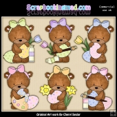 Bailey Bears Easter Eggs ClipArt Graphic Collection