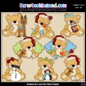 Sweet Stuffins Christmas Bears ClipArt Collection