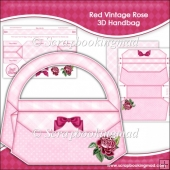 Red Vintage Rose 3D Handbag