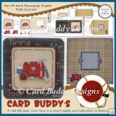 Men At Work Decoupage Shaped Fold Card Kit