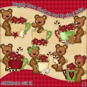 Raggedy Bears Christmas Cups ClipArt Graphic Collection
