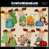 Little Moose Goes Camping ClipArt Collection