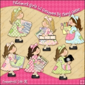 Patchwork Girls Lil Scrappers ClipArt Graphic Collection