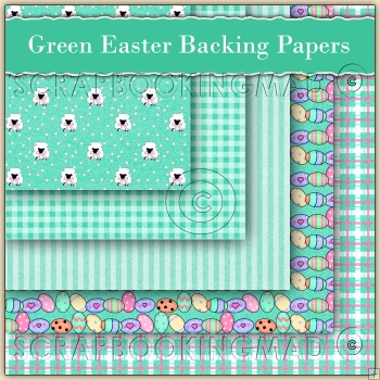 5 Green Easter Sheep Backing Papers Download (C100)
