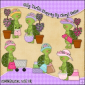 Silly Turtles Shopping ClipArt Graphic Collection