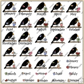 Crow Months ClipArt Graphic Collection