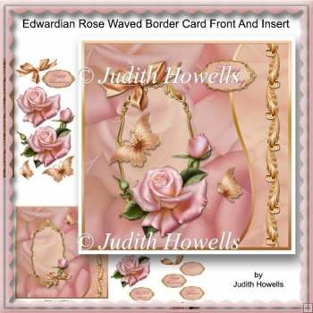 Edwardian Rose Waved Border Card Front And Insert