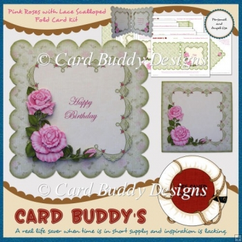 Pink Roses with Lace Scalloped Fold Card Kit