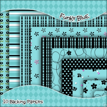10 Funky Blue Backing Papers Download (C38)