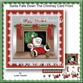 Santa Falls Down The Chimney Card Front