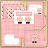 Pink Baby Buggy PDF Penny Slider Card Download
