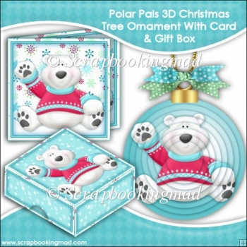 Polar Pals 3D Christmas Tree Ornament With Card & Gift Box