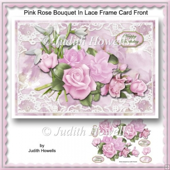 Pink Rose Bouquet In Lace Frame Card Front