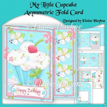 My Little Cupcake Asymmetric Fold Card