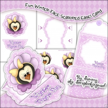 Fun Winter Face Scalloped Easel Card Download