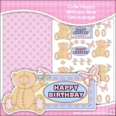 Cute Happy Birthday Bear Decoupage Download
