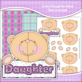 Cute Daughter Bear Decoupage Download