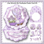 Lilac Bonnet Girl Scalloped Easel Card Kit
