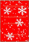 Backing Papers Single - Red Snow Flakes - REF_BP_14