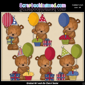 Baxter Bears Birthday ClipArt Graphic Collection