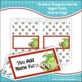 Stuffed Dragons Movie Night Name Tags