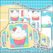 Birthday Cupcake Scalloped Four Fold Card & Envelope